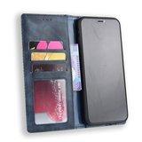 Vintage Wallet Stijl Kunstleer leder Cover Case iPhone XS Max hoesje - Blauw_