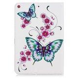 Vlinders bloemen flipcase leder klaphoes standaard iPad mini 4 5 - Wit_