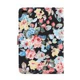 Bloemen rozen kleurrijk leren klaphoes standaard iPad mini 4 5 - Zwart_