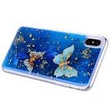 Glitter hoesje vlinders TPU goud iPhone XS Max - Blauw_