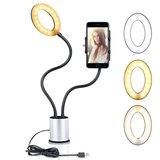Selfie licht smartphone houder dimbaar 3 kleuren licht - Zilver Zwart_
