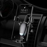 Baseus mini telefoonhouder smartphone airco ventilatie - Zwart_