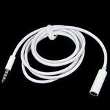 Audio verlengkabel wit 1 meter 3,5mm plug audio cable_
