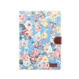Wallet Portemonnee Hoes Case Flowerprint Bloemenstofpatroon Kunstleer voor iPad 10.2 inch - Blauw_