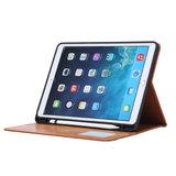 Wallet Portemonnee Hoes Case met Penhouder Kunstleer voor iPad 10.2 inch - Bruin_