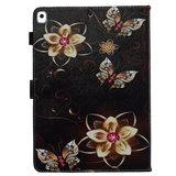 Hoes Case Wallet Portemonnee Bloemen Vlinders Kunstleer voor iPad 10.2 inch - Zwart_