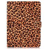 Hoes Case Wallet Portemonnee Luipaardprint Kunstleer voor iPad 10.2 inch, iPad Pro 10.5 en iPad Air 3 10.5 inch - Oranje Zwart Beige_
