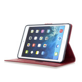 Wallet Portemonnee Hoes Case Kunstleer met Standaard voor iPad mini 1 2 3 4 5 - 7.9 inch - Rood_