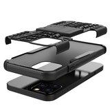 Shockproof kunststof en schokabsorberend TPU hoesje voor iPhone 12 en iPhone 12 Pro - zwart_