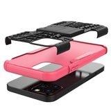 Shockproof kunststof en schokabsorberend TPU hoesje voor iPhone 12 en iPhone 12 Pro - zwart met roze_