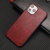Leather Look kunstleer hoesje voor iPhone 12 en iPhone 12 Pro - rood_