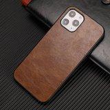 Leather Look kunstleer hoesje voor iPhone 12 en iPhone 12 Pro - bruin_