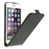 Zwarte lederen flipcase iPhone 6 Plus 6s Plus Klaphoesje leer Leder cover_
