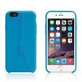 Stevig hoesje met imitatie rits iPhone 6 6s Blauwe silicone case _