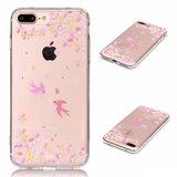 Doorzichtig TPU hoesje met vogels iPhone 7 Plus 8 Plus Roze gele bloemen _