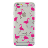Transparant Roze flamingo TPU hoesje iPhone 6 6s case cover_