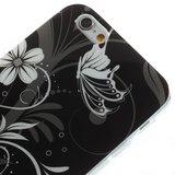 Zwart witte bloemen TPU hoesje iPhone 6 6s case_