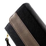 Universele kunstlederen wallet portemonnee tas - zwart leder brons_