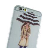 Regen paraplu meisje TPU hoesje iPhone 6 6s - Rode Laarsjes Trenchcoat - Doorzichtig_