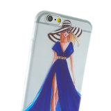Meisje jurk elegant iPhone 6 6s TPU hoesje - Blauw Strepen - Doorzichtig_