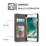 Caseme Canvas Wallet Fabric hoesje iPhone 7 Plus 8 Plus Bookcase - Asgrijs Charcoal_