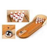 Bowlingspel cadeau met Knikker Kegels Pins - Bowlingbaan Hout_