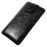 Universeel zwart lederen insteekhoesje voor iPhone - Max. 5 inch_