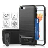 Brushed iPhone 6 Plus 6s Plus TPU kunststof hybride case pasjes slider - Zwart Standaard_