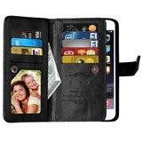 Grote Wallet Pasjeshouder lederen hoesje iPhone 7 Plus 8 Plus - Zwart - 9 Pasjes_