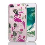 Flamingo tropische glitter TPU hoesje iPhone 7 Plus 8 Plus - Doorzichtig Roze Groen_