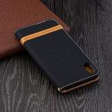 Fabric Lederen iPhone XS Max Bookcase wallet hoesje Standaard - Zwart Bruin_
