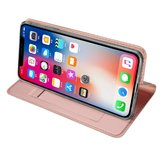 Dux Ducis Cover booklet case hoesje met flap leren hoes iPhone XS Max- Rose Goud_