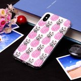 Roze Ananas TPU Zacht hoesje iPhone XS Max cover - Wit Case_