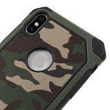 TPU Zacht Camouflage Kunstleer hoesje iPhone XS Max cover - Groen_