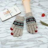 Winter touchscreen Gebreide handschoenen - Sneeuwvlokken Grijs_