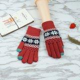 Winter Touchscreen Gebreide Handschoenen - Sneeuwvlokken Rood_