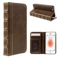 BoekBoek Bookcase iPhone 5 5s en SE Boek lederen bruin boek wallet