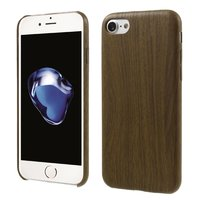 Silicone houten hoesje iPhone 7 Wooden TPU cover Donker imitatie hout