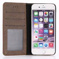 Bruine Boek wallet case iPhone 7 8 Zwarte hardcase portemonnee hoesje Leder - Bookcase