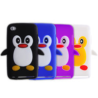 Pinguin iPod Touch 4G 4 hoesje penguin paars zwart blauw wit silicone