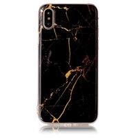 Marmer hoesje TPU marble cover iPhone X XS - Zwart Goud