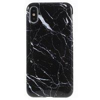 Marmer hoesje TPU marble case iPhone X XS - Zwart