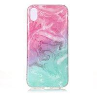 Marmer TPU Hoesje Transparant iPhone XR  - Blauw Roze