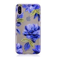 Doorzichtig Blauwe Bloemen iPhone X XS TPU hoesje - Blauw