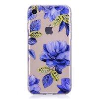 Doorzichtig Blauwe Bloemen iPhone 7 8 TPU hoesje - Blauw