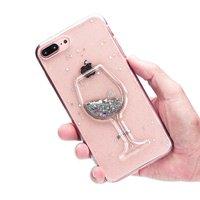 Glitter Wijnglas Transparant Hoesje iPhone 7 Plus 8 Plus