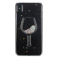 Transparant Glitter Wijnglas Hoesje iPhone XS Max - Glitter