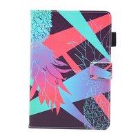 Ananas kleurrijk flipcase leder klaphoes iPad mini 1 2 3 4 5 - Lichtblauw Roze Paars