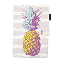 Ananas pineapple flipcase leder klaphoes iPad mini 1 2 3 4 5 - Lichtroze Wit