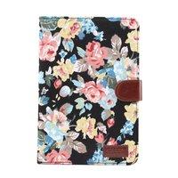 Bloemen rozen kleurrijk leren klaphoes standaard iPad mini 4 5 - Zwart